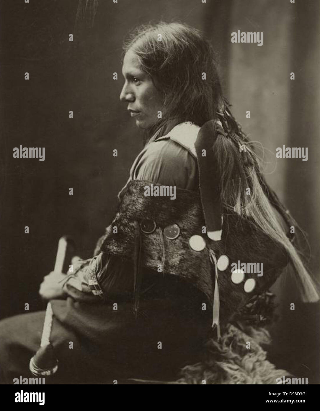 Sioux Native American Indian man, 1890. - Stock Image