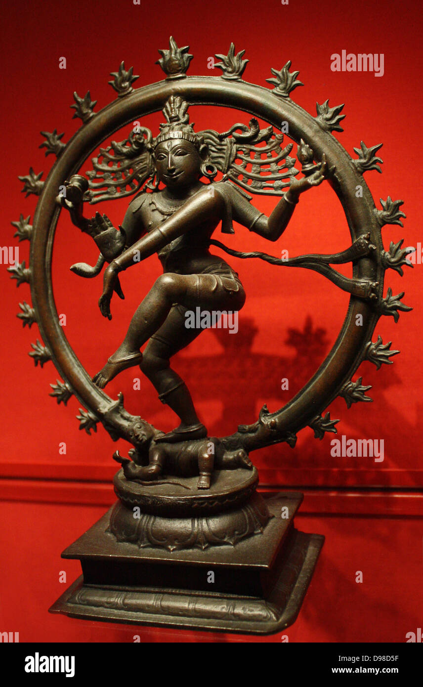 Shiva Nataraja, Lord of the Dance, bronze, Vijayanagar, 1450-1500.  Encircled by flames, Shiva as Cosmic Dancer - Stock Image