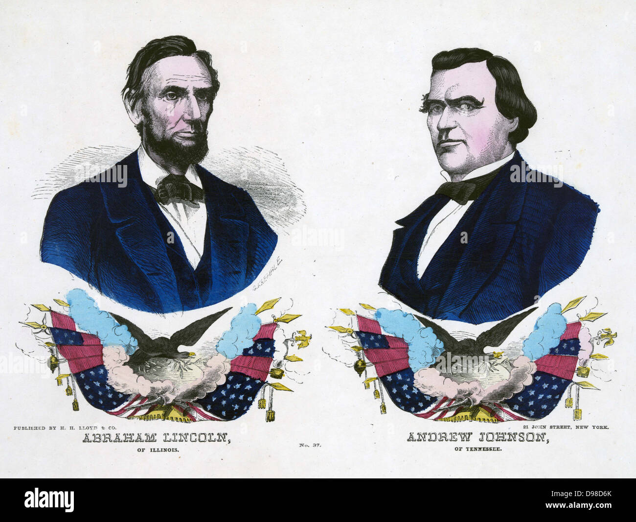 Republican campaign banner for the 1864 US Presidential election. Abraham Lincoln, the Presidential candidate, left, - Stock Image