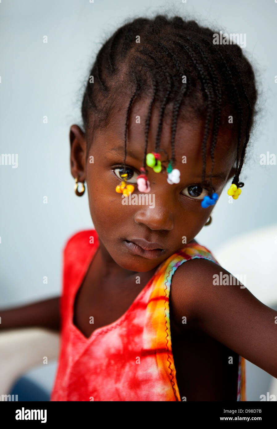 Portrait of a young girl, Dakar, Senegal - Stock Image