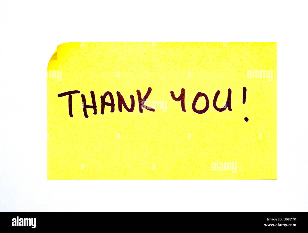 'Thank You!' written on a yellow post it note - Stock Image