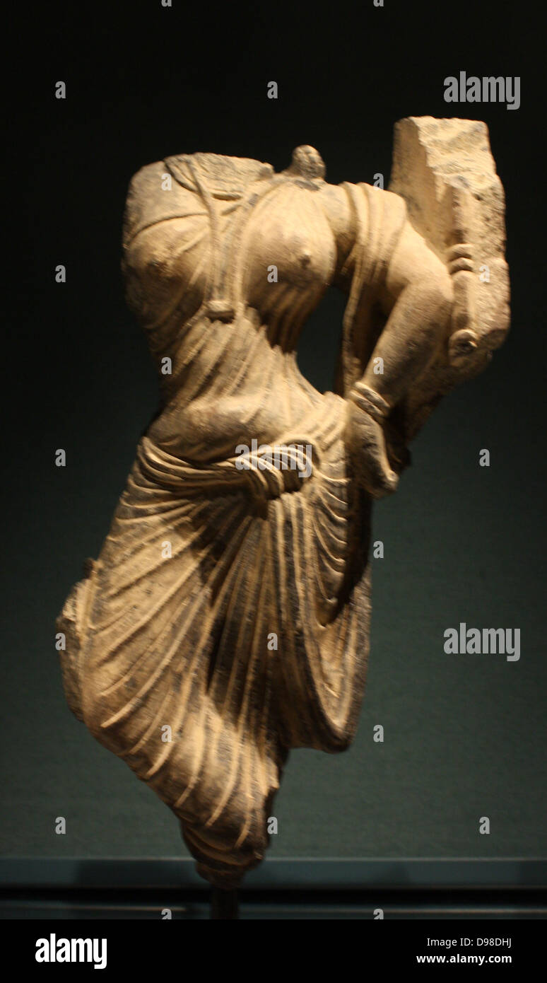 Female figure, Gandhara, AD 100-200.  Schist relief fragment. - Stock Image