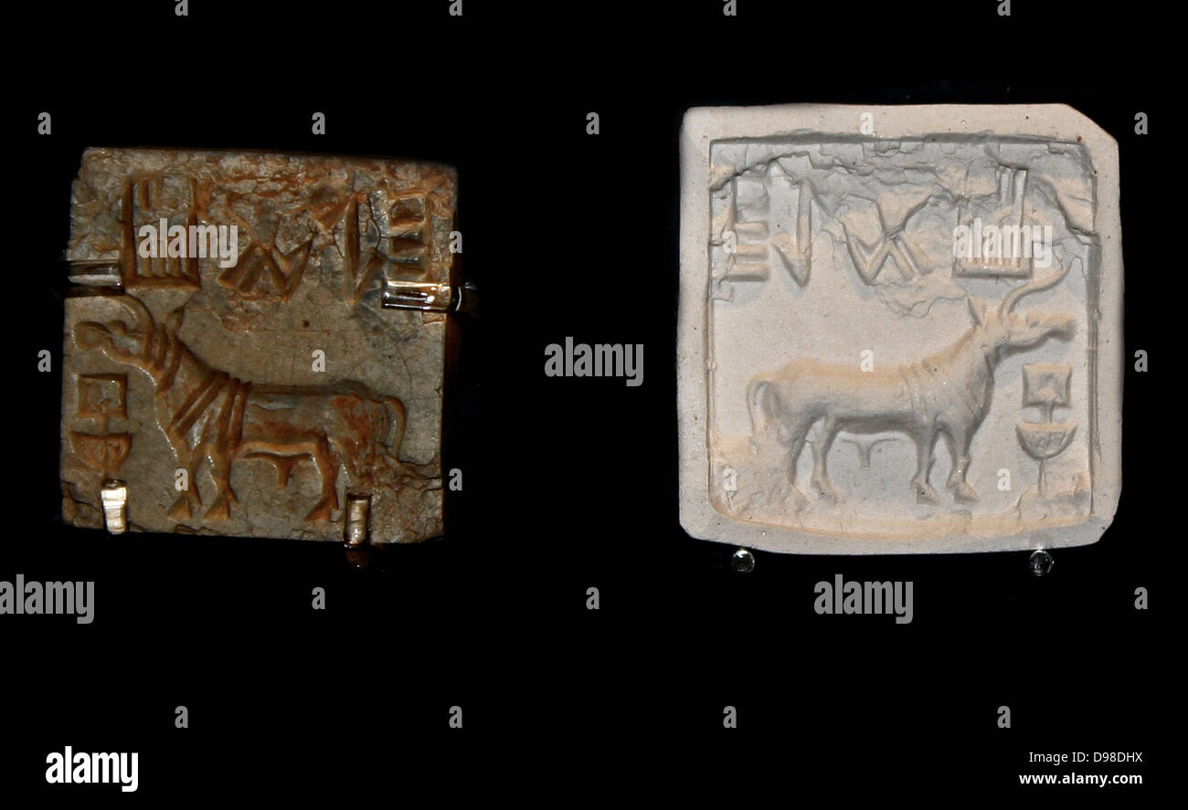 Square seal, Harappa, Sind, about 2000 BC.  Glazed steatite.  Indus seals were commonly used to mark bundles of - Stock Image