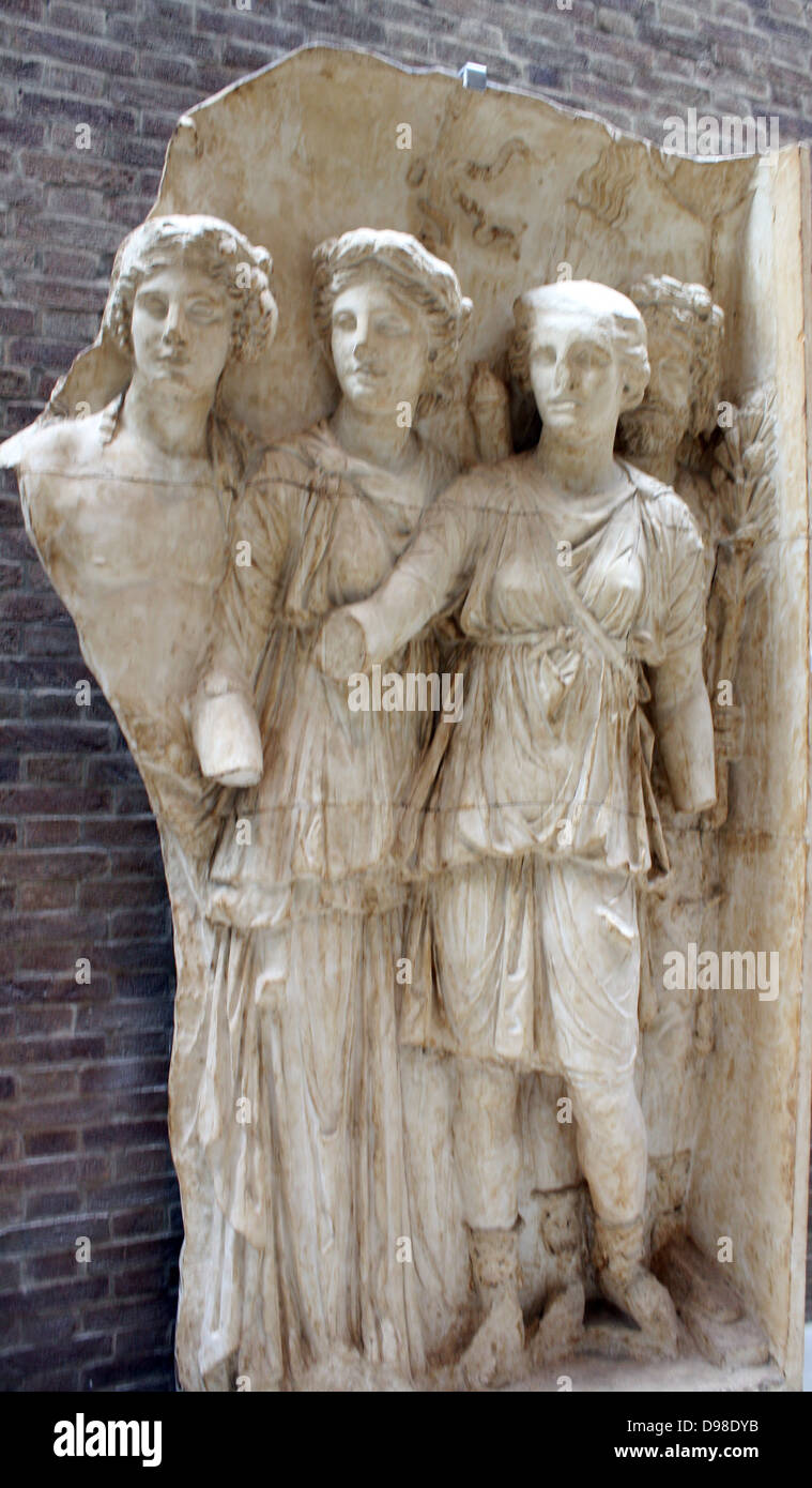 Gods of countryside.  Arch of Trajan at Beneventum, AD 114.  These gods represent the prosperity of the countryside Stock Photo