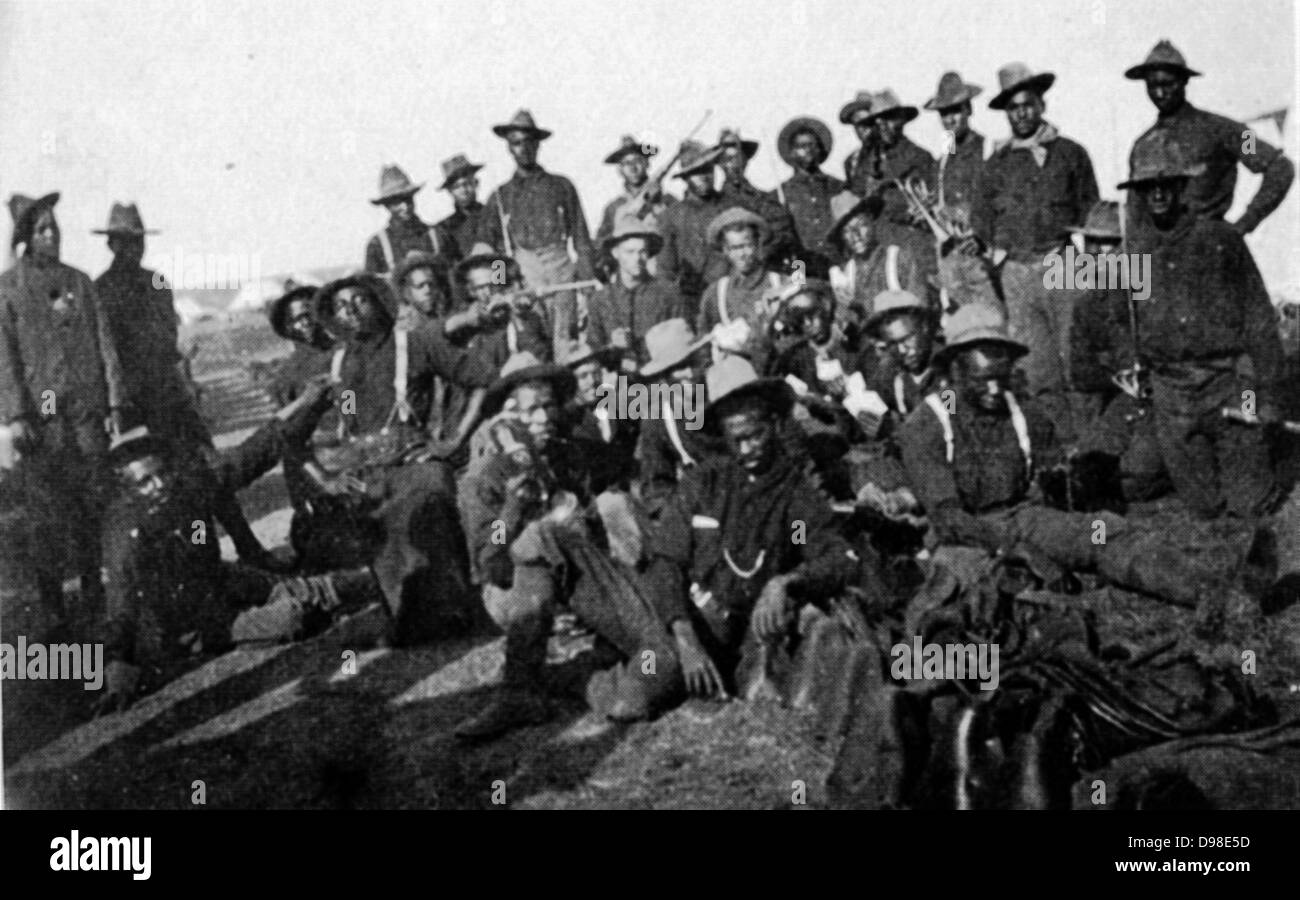 Segregated company of United States soldiers (Buffalo Soldiers) in 1898 during the Spanish-American war. - Stock Image