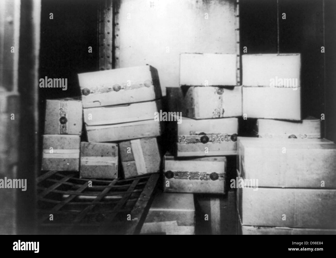 Prohibition or The Noble Experiment 1919-1933: Cases of Whiskey confiscated by the US Internal Revenue Bureau, 1920s. - Stock Image