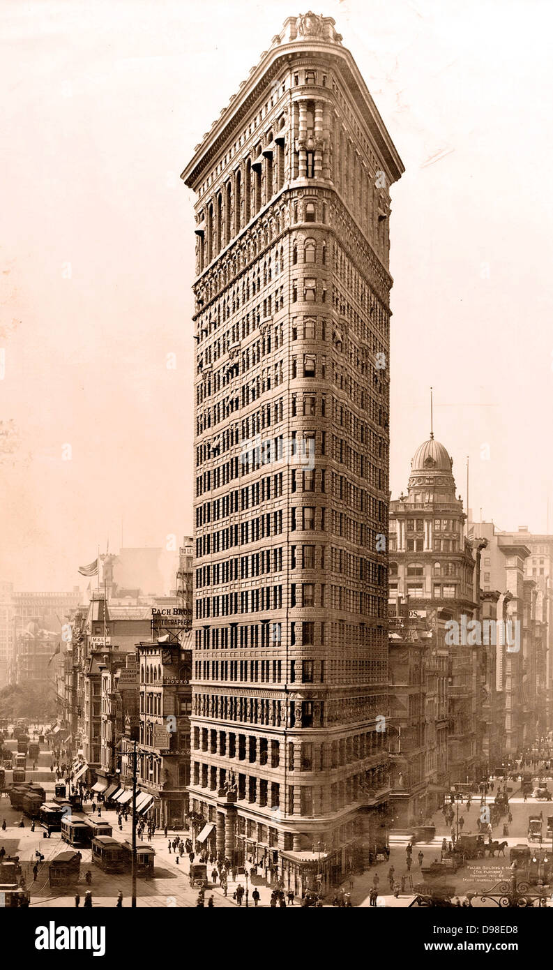 Flatiron building in New York City, circa 1910-1920 - Stock Image