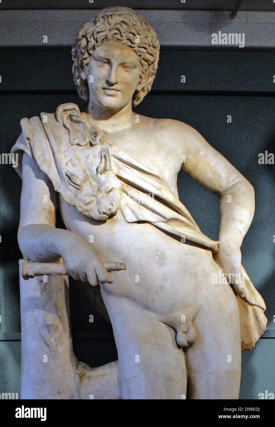 Resting Satyr.  From Tivoli, second century AD. A youthful satyr, wearing a panther skin across his chest, rests - Stock Image