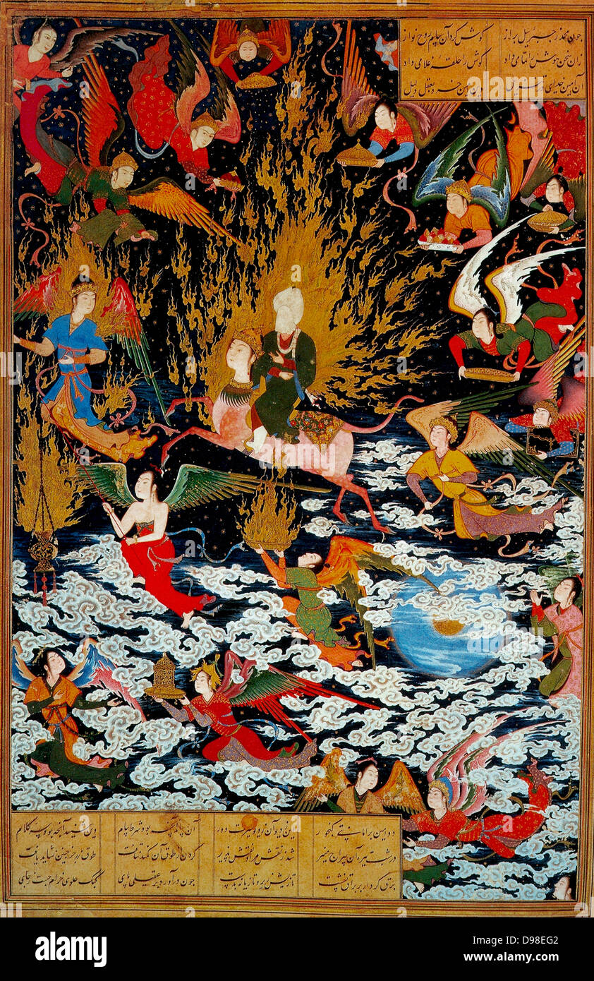 Persian miniature 1550 AD depicting the Prophet Muhammad ascending on the Burak into Heaven, a journey known as - Stock Image