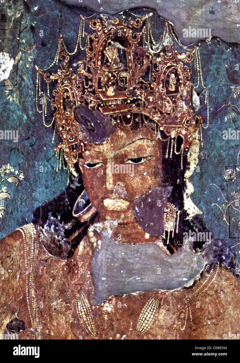 Ajanta Caves India. Cave painting dating from the second century BCE 2 - Stock Image