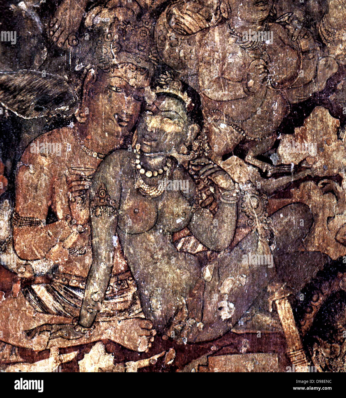 Ajanta Caves India. Cave painting dating from the second century BCE 3 - Stock Image