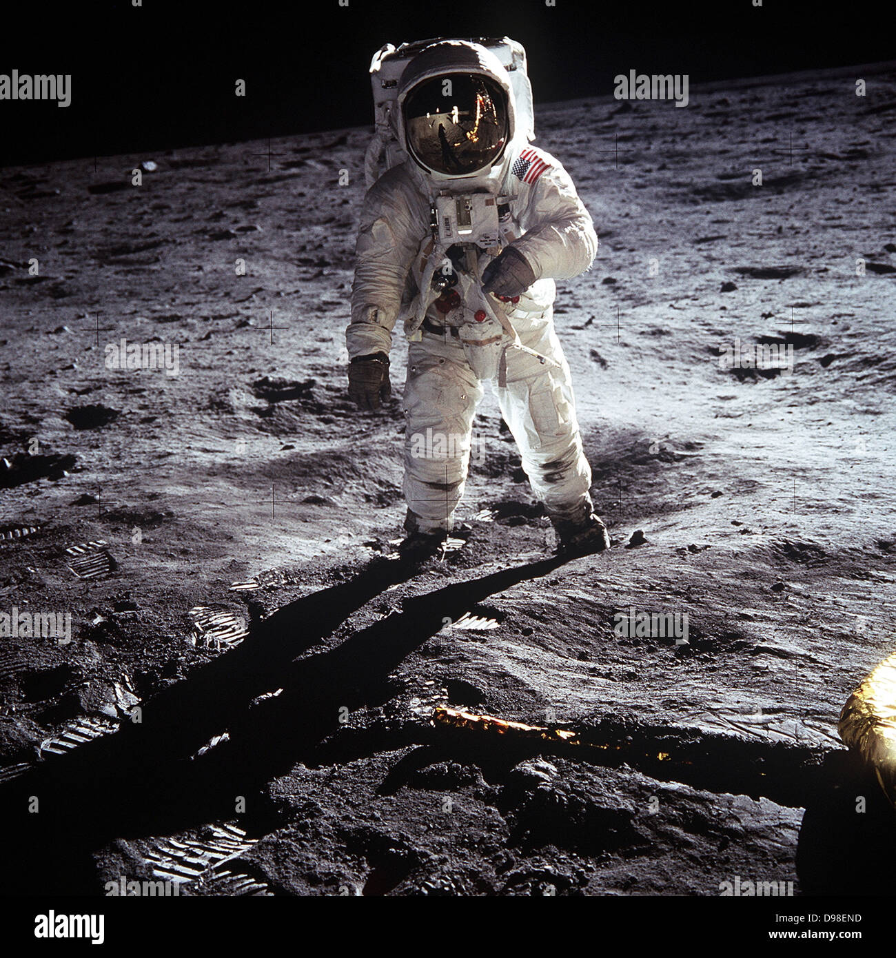 US Astronaut Buzz Aldrin, walking on the Moon July 20 1969. Taken during the first Lunar landing of the Apollo 11 Stock Photo