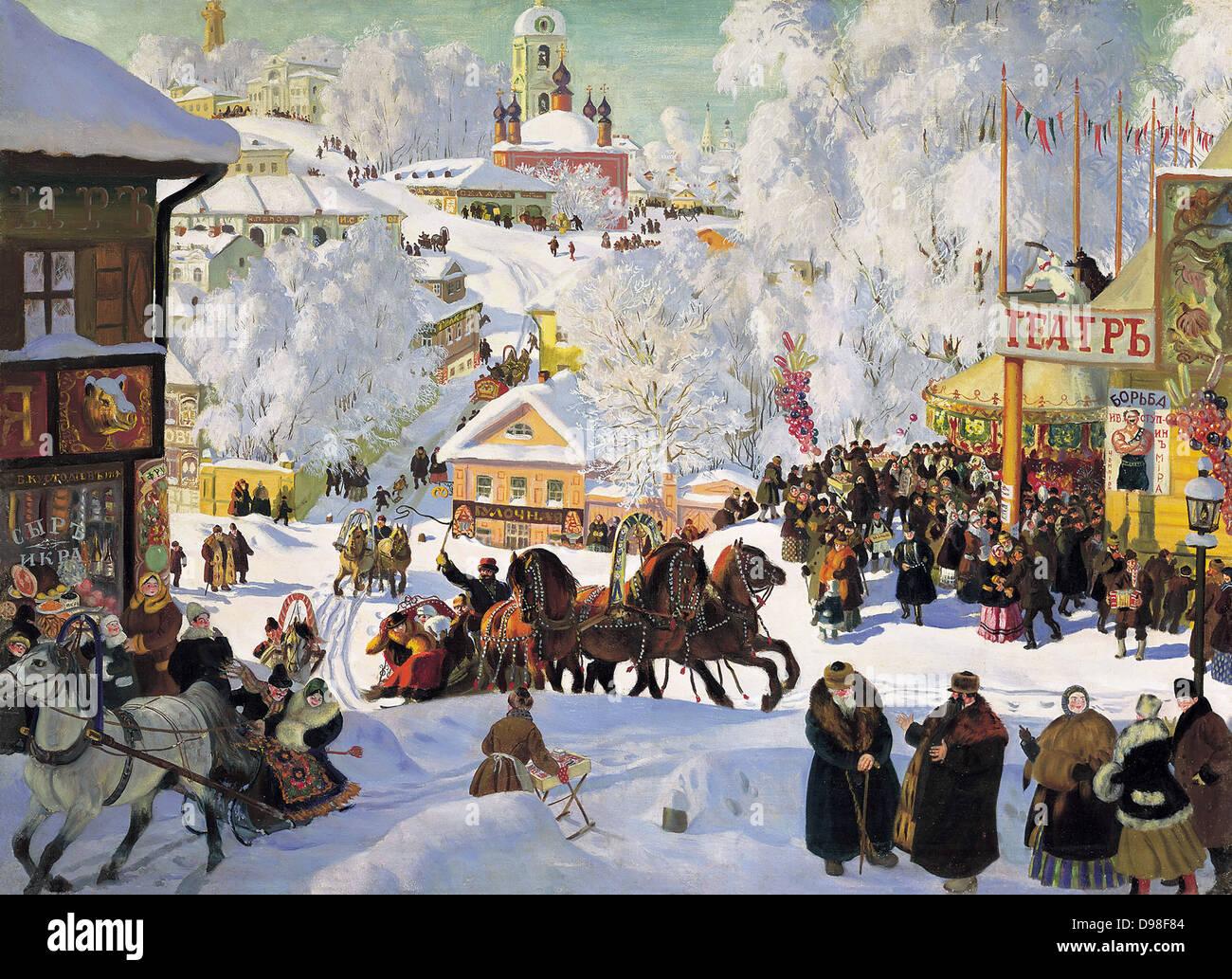 Boris Kustodiev (1878–1927) Russian painter. Maslenitsa, 1919. Oil on canvas - Stock Image