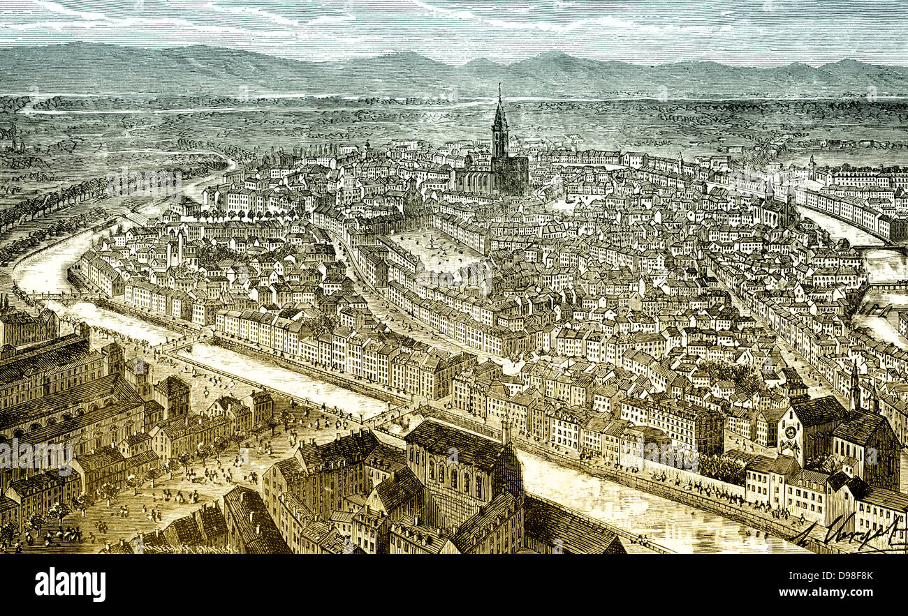 The city of Strasbourg, Alsace, France, historical scene from the Franco-Prussian War or Franco-German War, 1870 - Stock Image