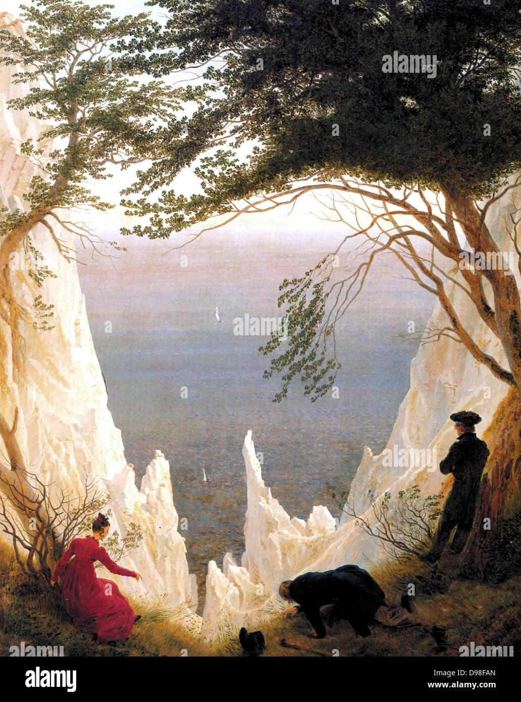 Moonrise Over the Sea (1822), by Caspar David Friedrich (1774 – 1840), German Romantic landscape painter - Stock Image