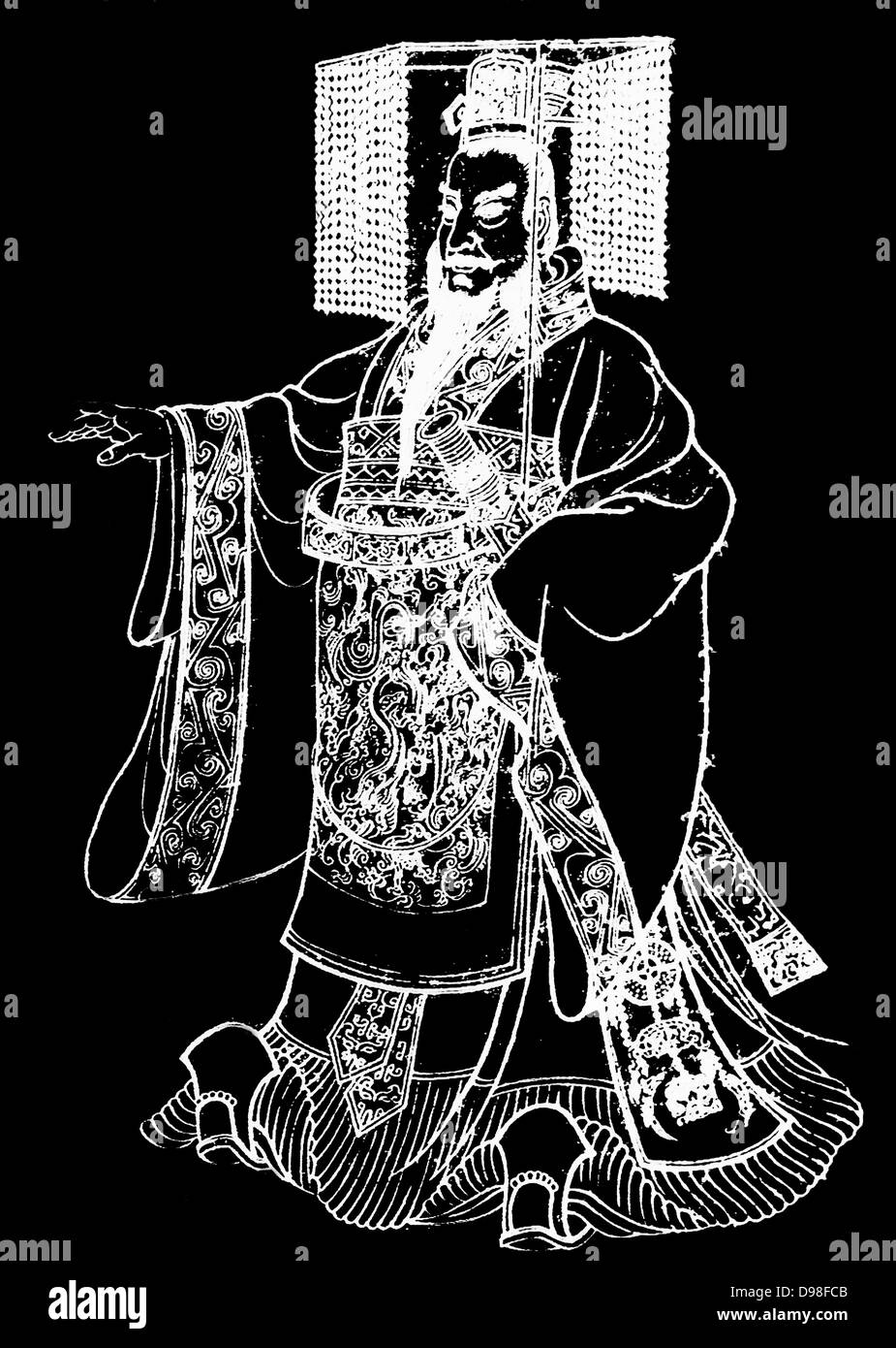 Qin Shi Huangdi (259 BC – 210 BC), king of the Chinese State of Qin from 246 BC to 221 BC during the Warring States - Stock Image