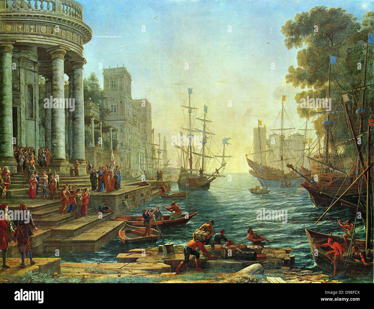 Claude Lorrain 'Seaport' with the Embarkation of Saint Ursula Painted by Claude Lorraine, French painter - Stock Image
