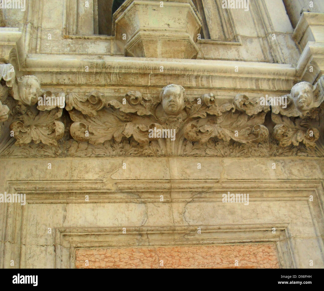 (Detail) architectural feature on the facade of the Doge's Palace in Venice, Italy. The palace was the residence - Stock Image