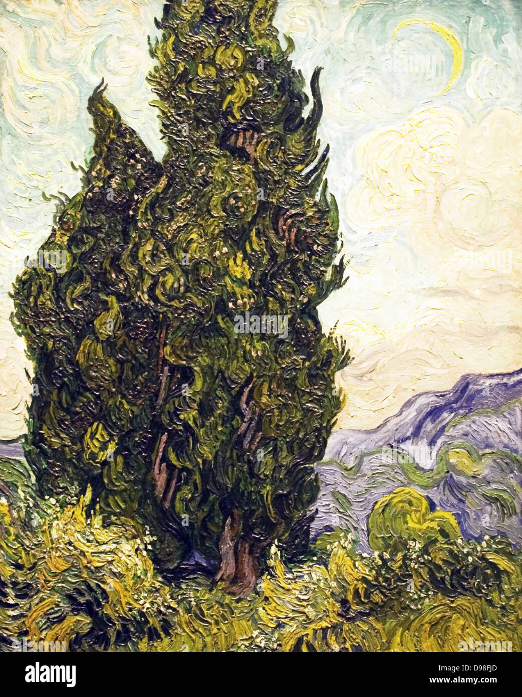 Cypresses by Vincent Van Gogh, 1889 - Stock Image