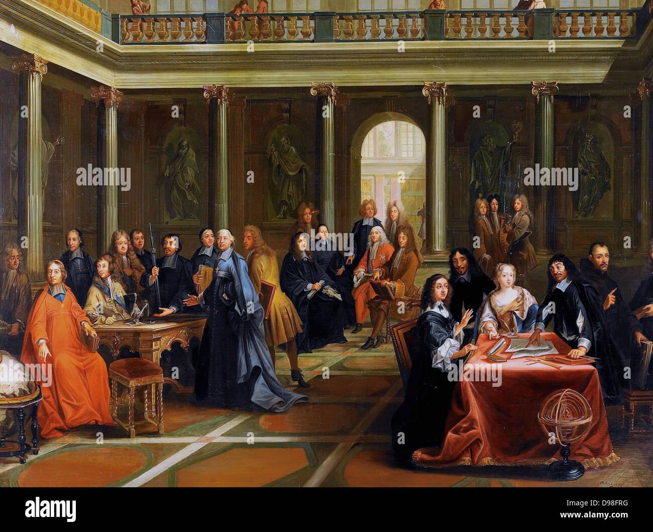 Dispute of Queen Cristina Vasa and Rene Descartes Stock Photo