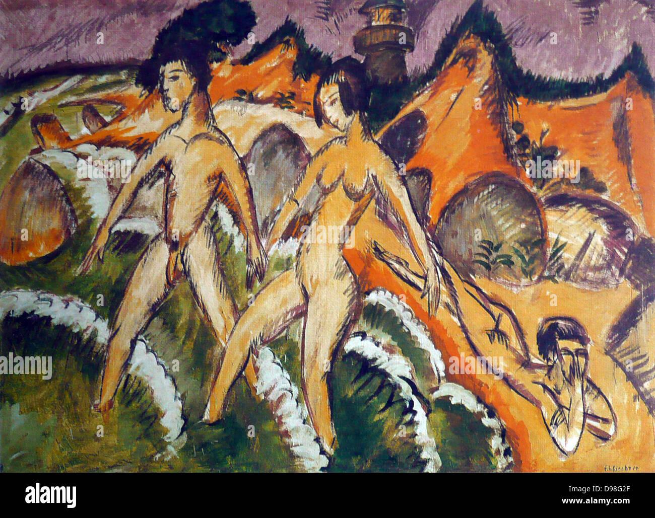 Ernst Ludwig Kirchner (6 May 1880 – 15 June 1938), German expressionist painter Personnes entrant dans la mer - Stock Image