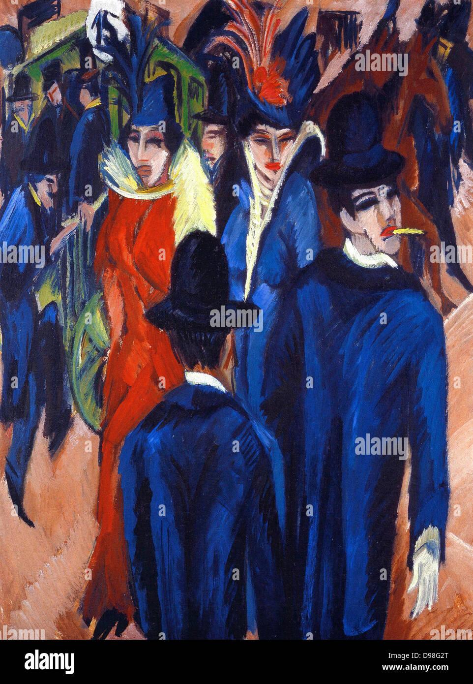 Ernst Ludwig Kirchner (6 May 1880 – 15 June 1938), German expressionist painter Berlin-Street-Scene - Stock Image
