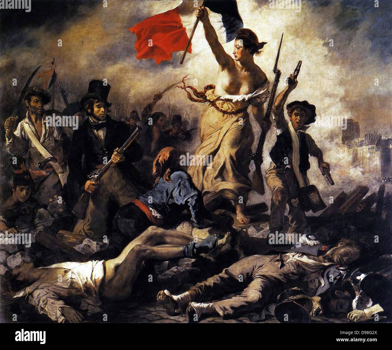 Eugene Delacroix (1798-1863) French Romantic painter. Liberty Leading the People (1830) Stock Photo