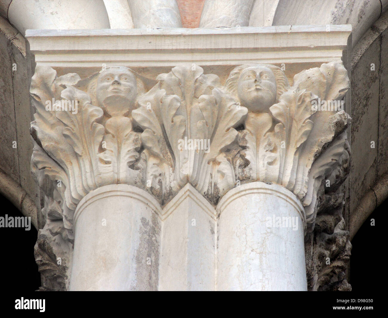 (Detail) architectural feature from the Doge's Palace in Venice, Italy. The palace was the residence of the - Stock Image
