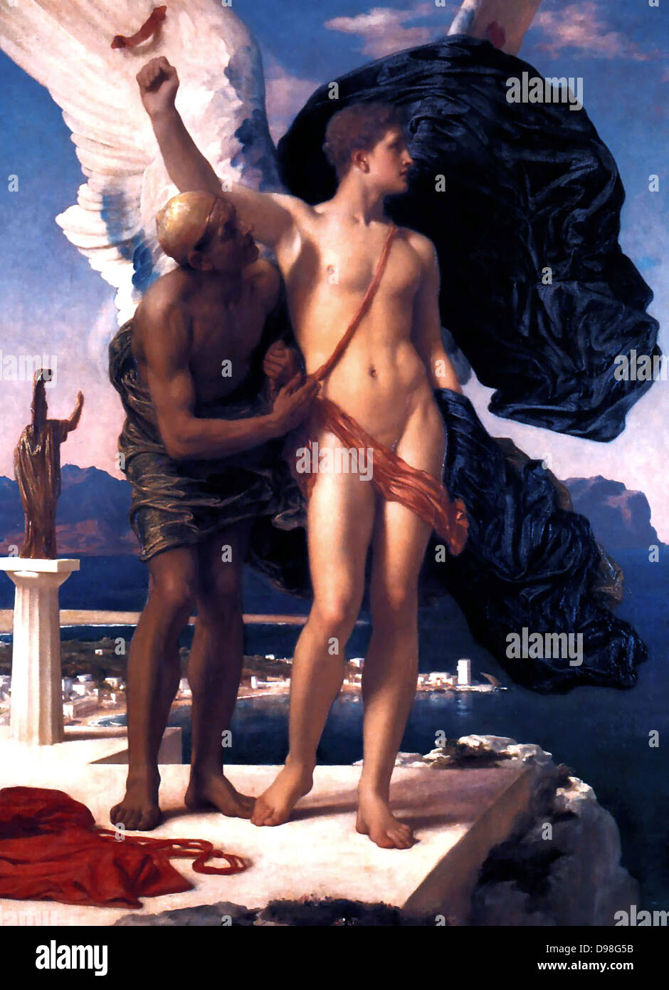 Frederic Leighton Icarus and Daedalus c 1869 Oil on canvas - Stock Image