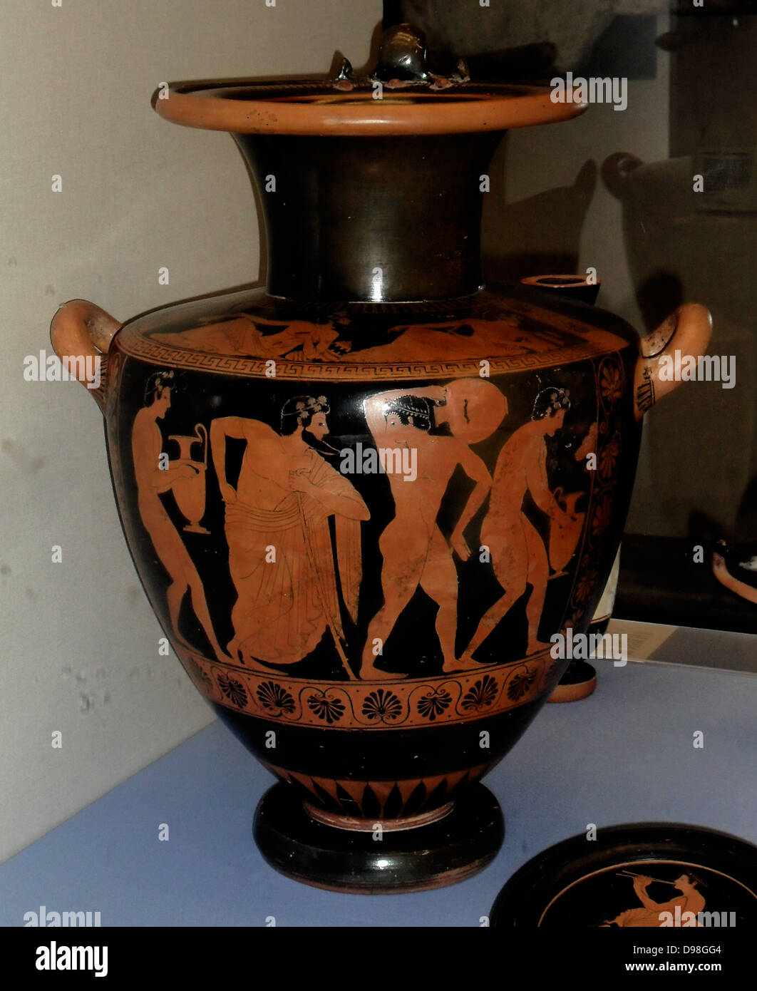 Greek pottery water jar signed by the painter Plyintias. Athenian, circa 510 BC - Stock Image