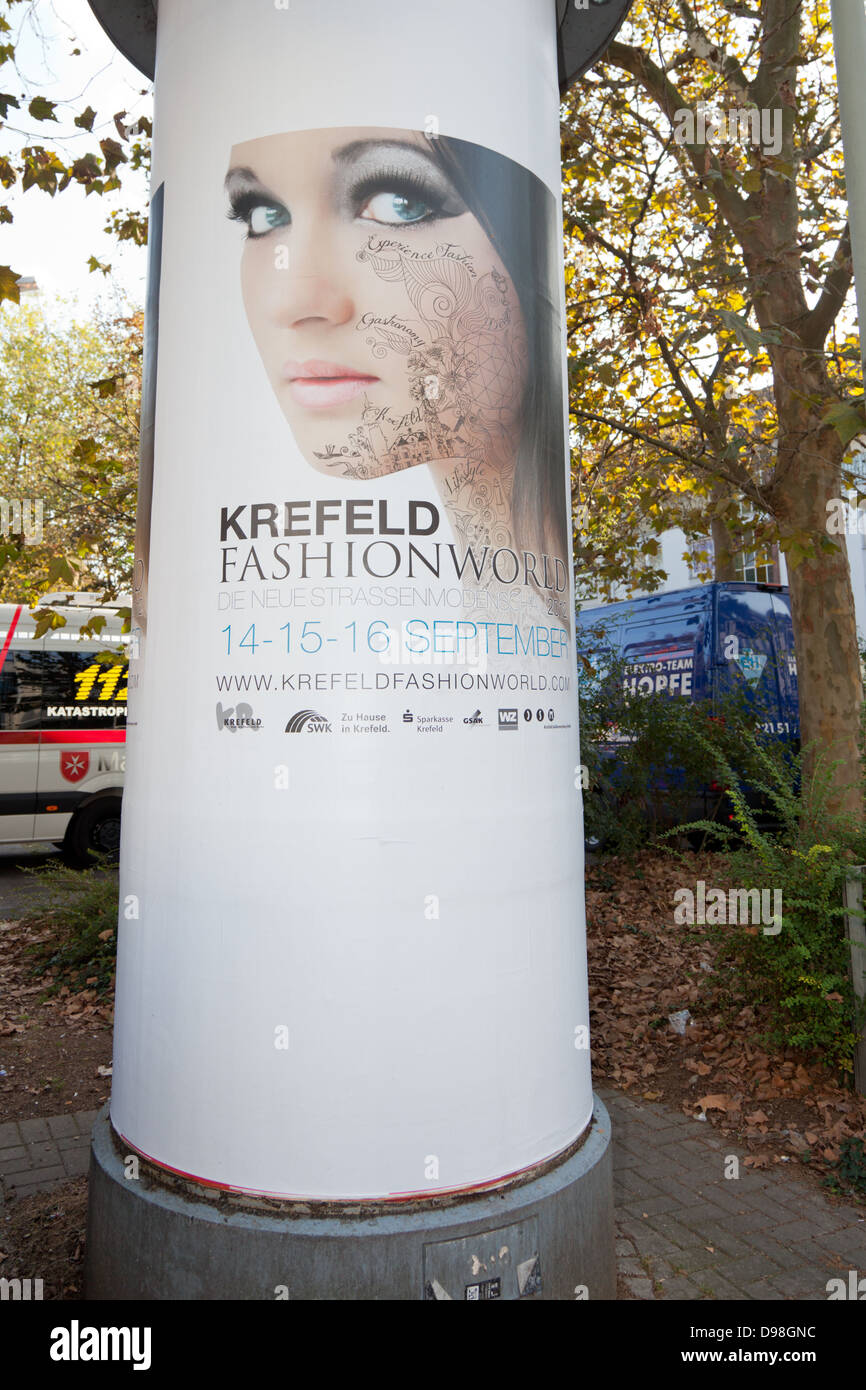 Krefeld Fashion World poster advertising the street event in 2012. - Stock Image