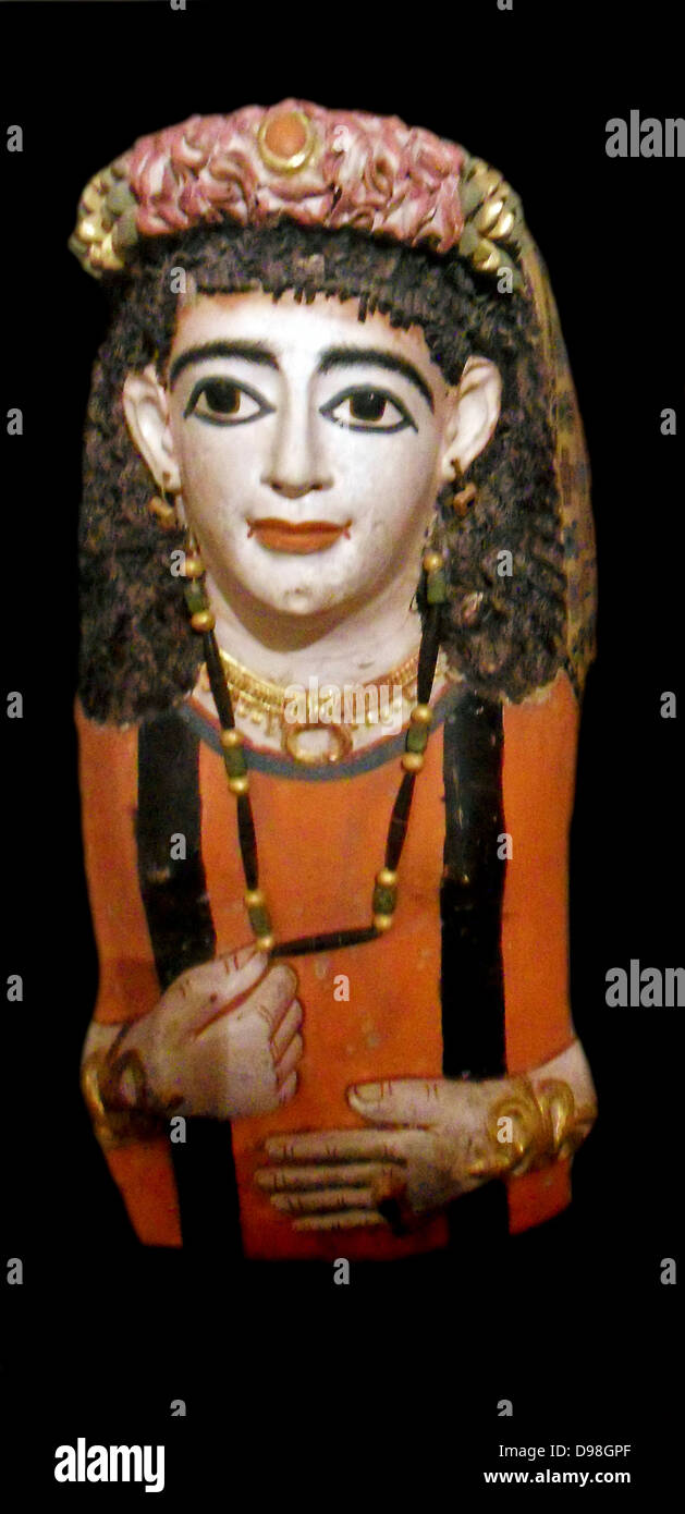 Mummy mask of a lady wearing a jewelled garland. AD 60-70 Roman Egyptian from Meir - Stock Image