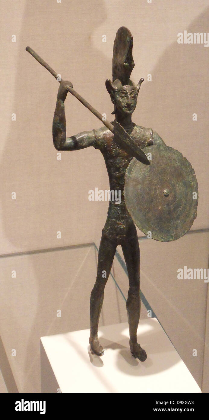 bronze statuette of a warrior. Etruscan 5th century BC - Stock Image