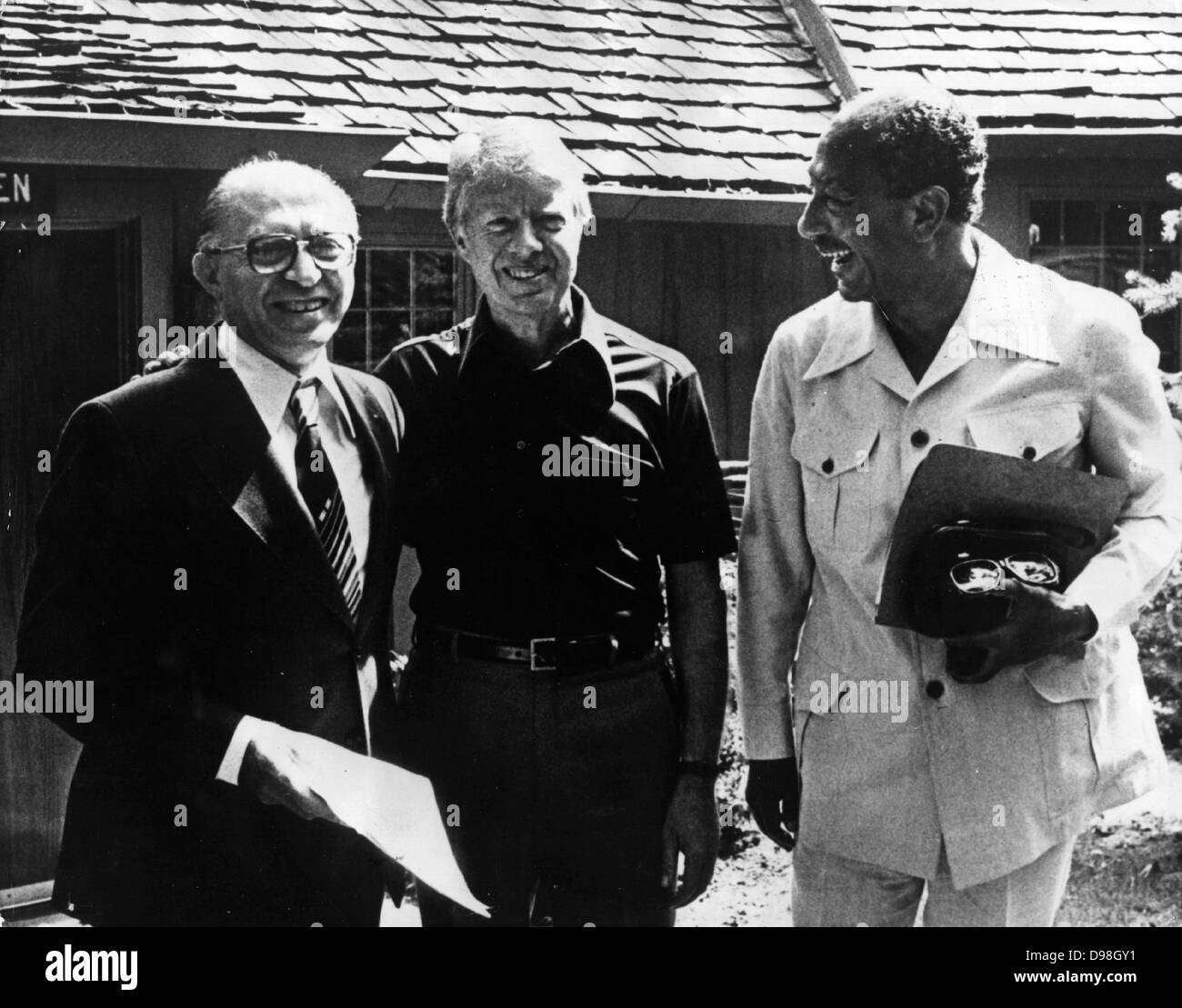Israeli Prime Minister Menachem Begin (1913 - 1992 )Jimmy Carter, President of the United States Anwar Sadat (1918 - Stock Image