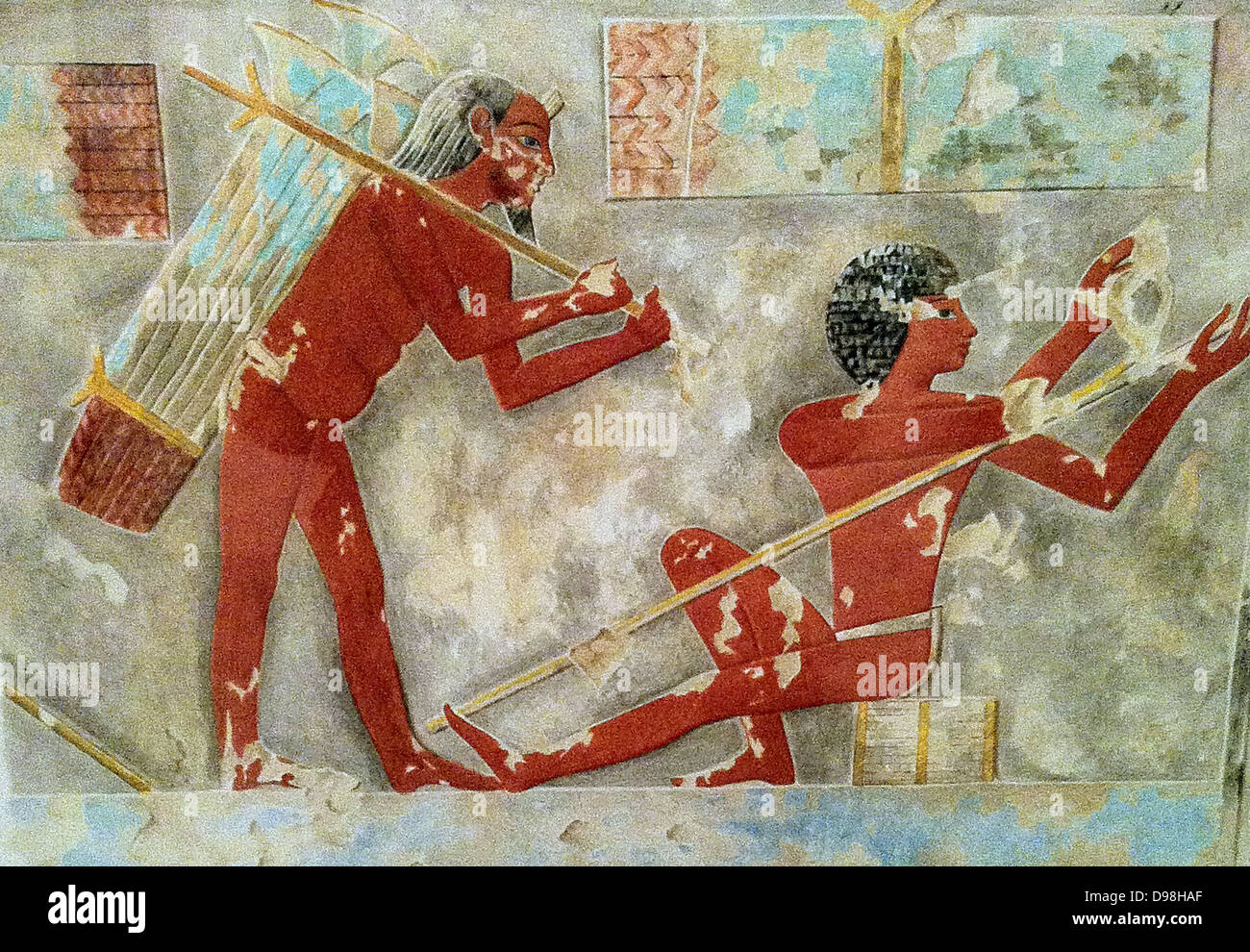 Men Splitting Papyrus, Tomb of Puimre. Copied by Hugh R. Hopgood (Egyptian Expedition Graphic Section). New Kingdom. - Stock Image