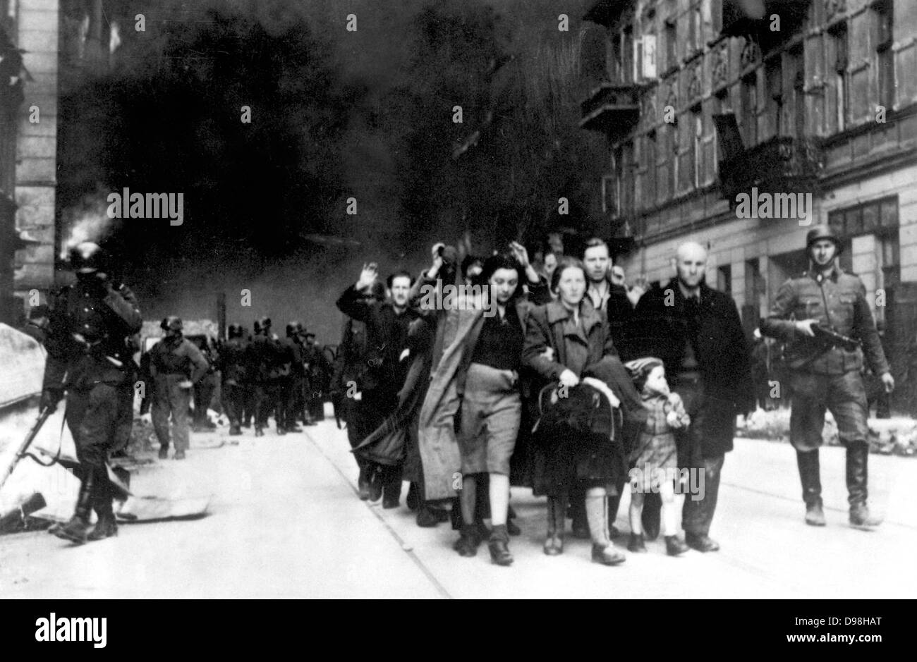 Jewish civilians captured during the destruction of the Warsaw Ghetto, Poland, 1943. - Stock Image