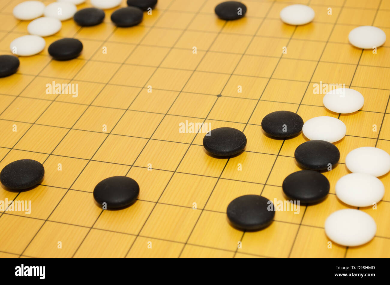A scene from a game of go. Selective focus. - Stock Image