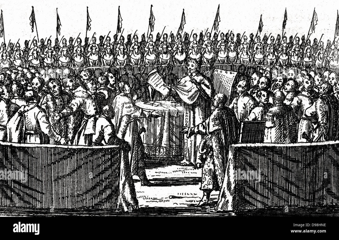 Election of Stanis?aw Leszczy?ski in 1704. Stanis?aw I Leszczy?ski (1677 – 1766) King of the Polish-Lithuanian Commonwealth - Stock Image