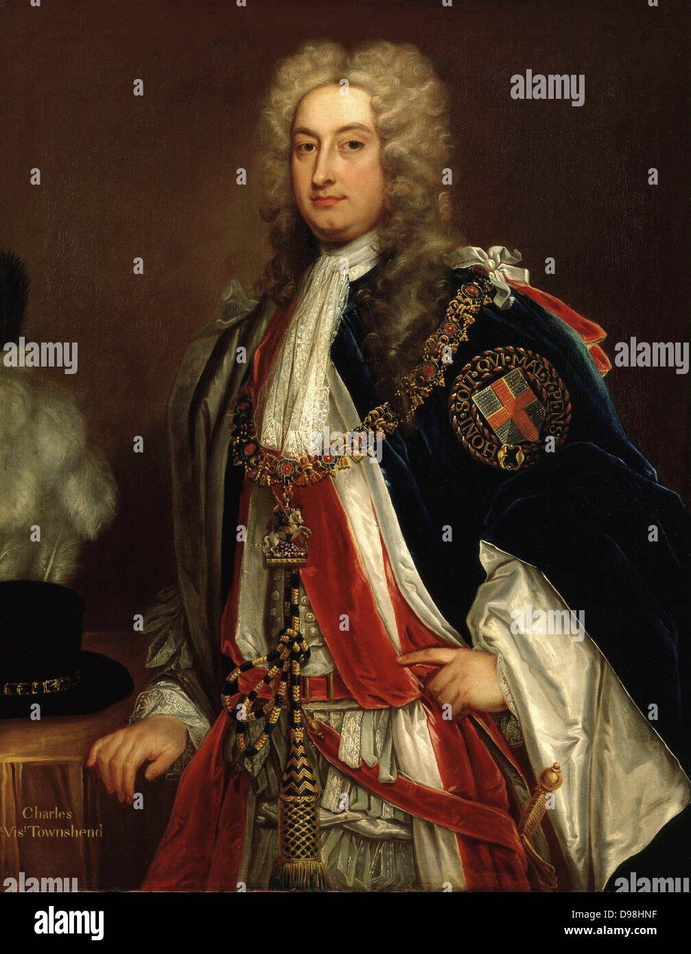 Charles Townshend, 2nd Viscount Townshend Bt, KG, PC (18 April 1674 – 21 June 1738) British Whig statesman. He served - Stock Image