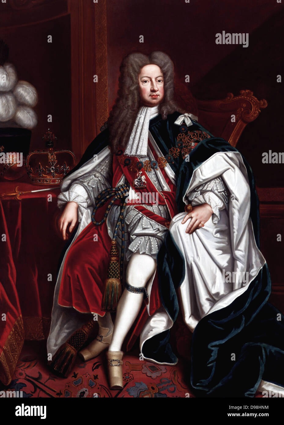King George I King of England, by Sir Godfrey Kneller, (died 1723) - Stock Image