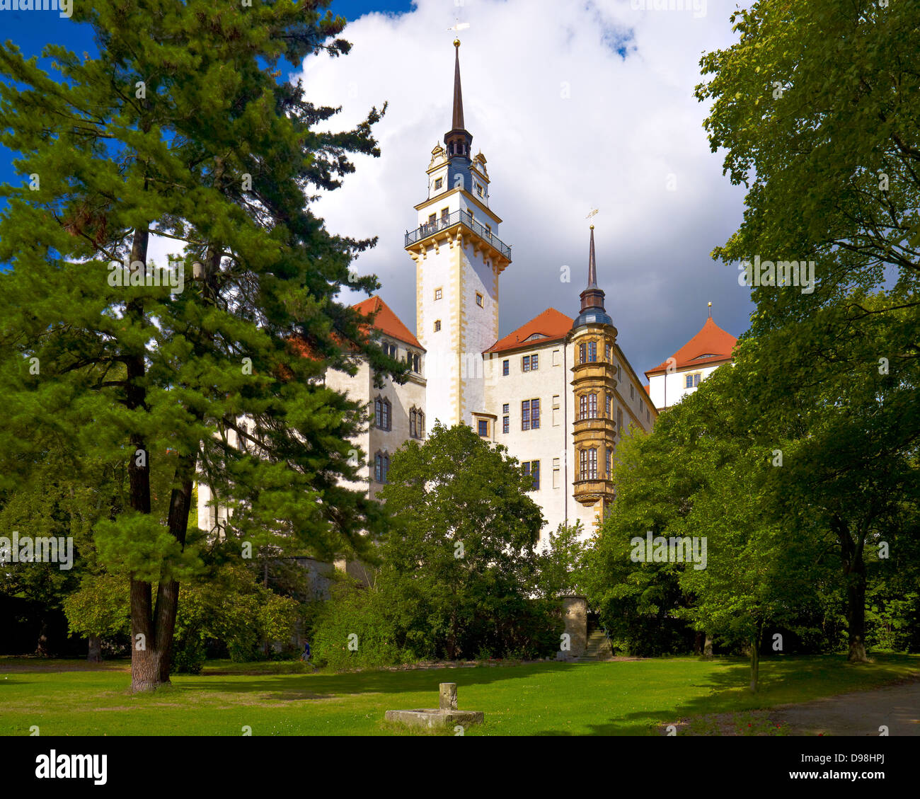 Hartenfels Castle with Hausmann Tower, Torgau, Saxony Germany Stock Photo
