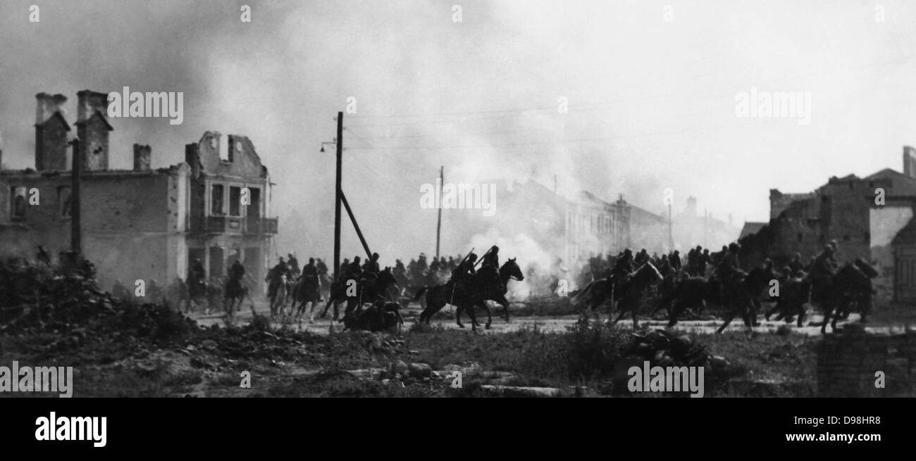 Battle of the Bzura. Polish cavalry in Sochaczew in 1939.World War II - Stock Image