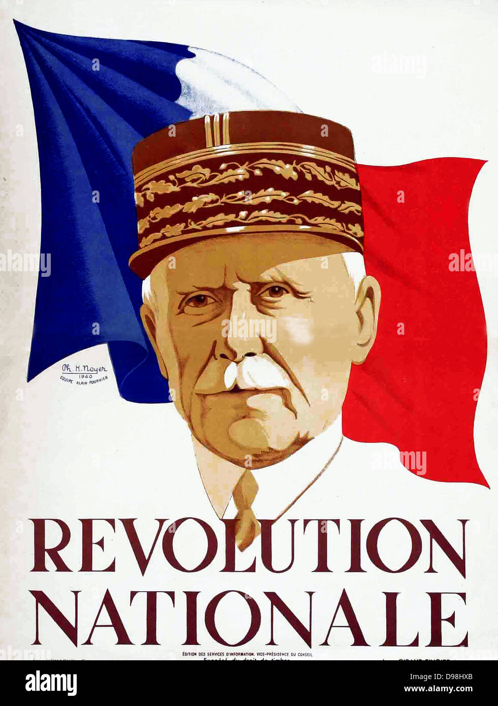Wartime French Vichy poster showing Marshall Petain. circa 1940-44 - Stock Image