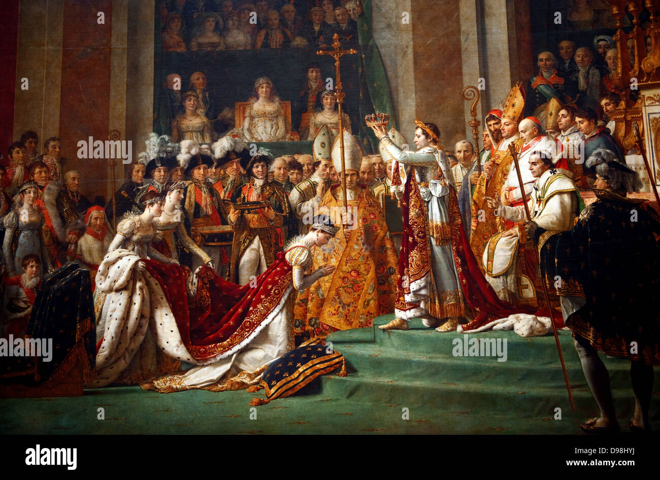'The Coronation of Napoleon' painting completed in 1807 by Jacques-Louis David, the official painter of - Stock Image