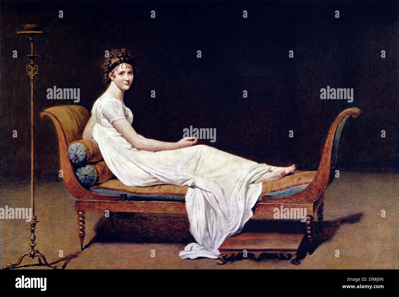 Jacques-Louis David. Portrait of Madame Recamier 1800 - Stock Image