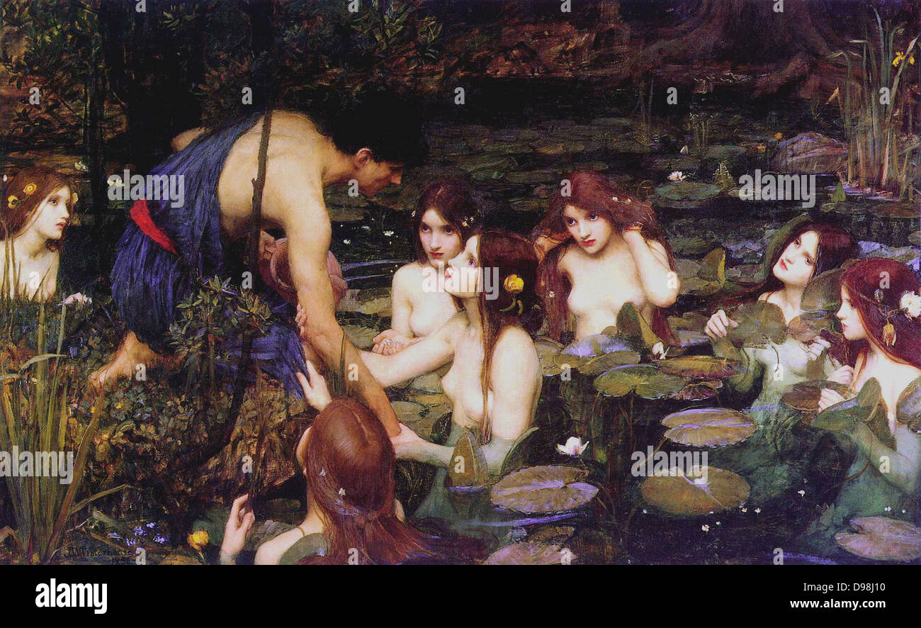 Hylas and the Nymphs, John William Waterhouse, 1896 - Stock Image