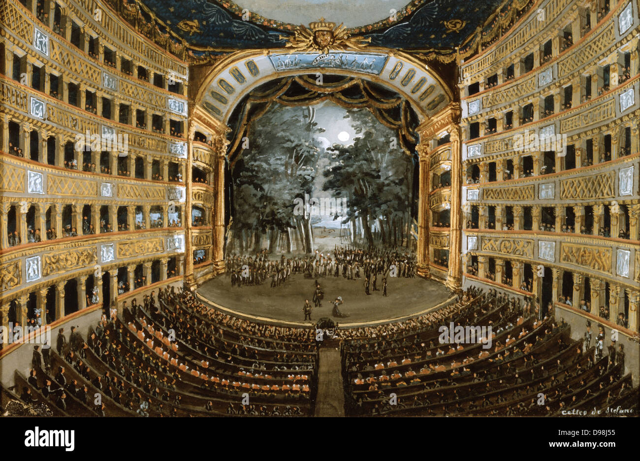 Naples: Interior of the Theatre of San Carlo' c1830. Gouache by Cetteo de Stefano. Audience Stalls Box Stage - Stock Image