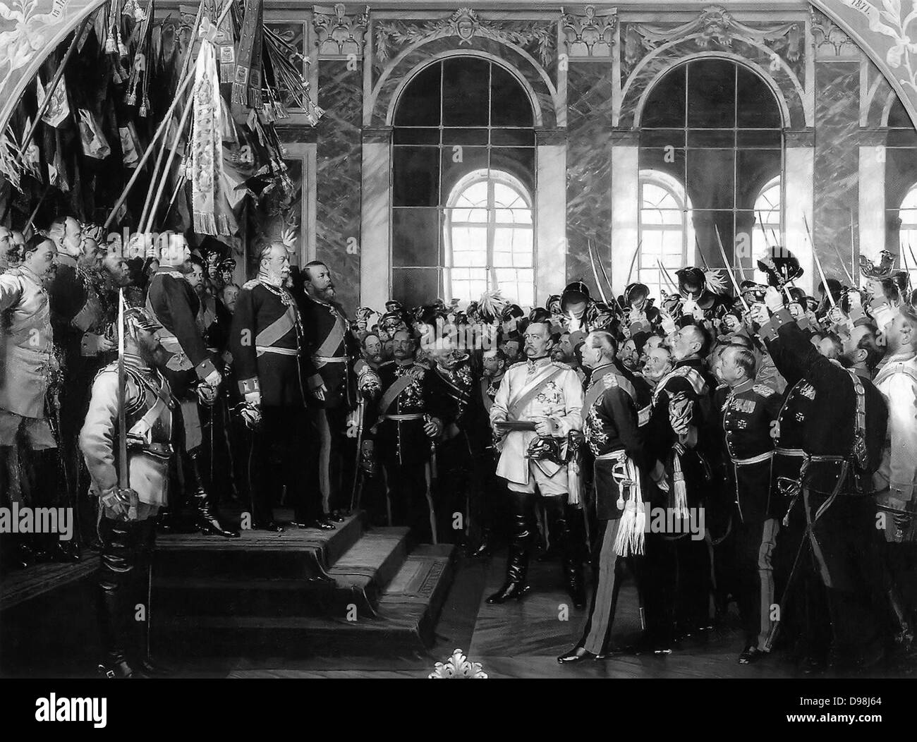 Anton von Werner's depiction of William I's proclamation as Emperor; In 1871, following Prussia's victories, - Stock Image