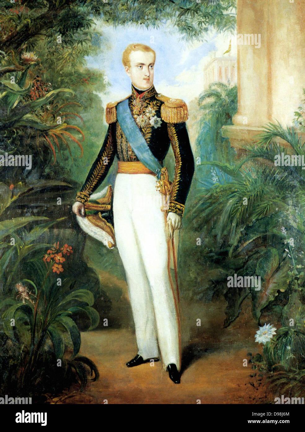 Pedro II (English: Peter II; 2 December 1825 – 5 December 1891), Pedro II, at age 20 wearing court dress, 1846. - Stock Image
