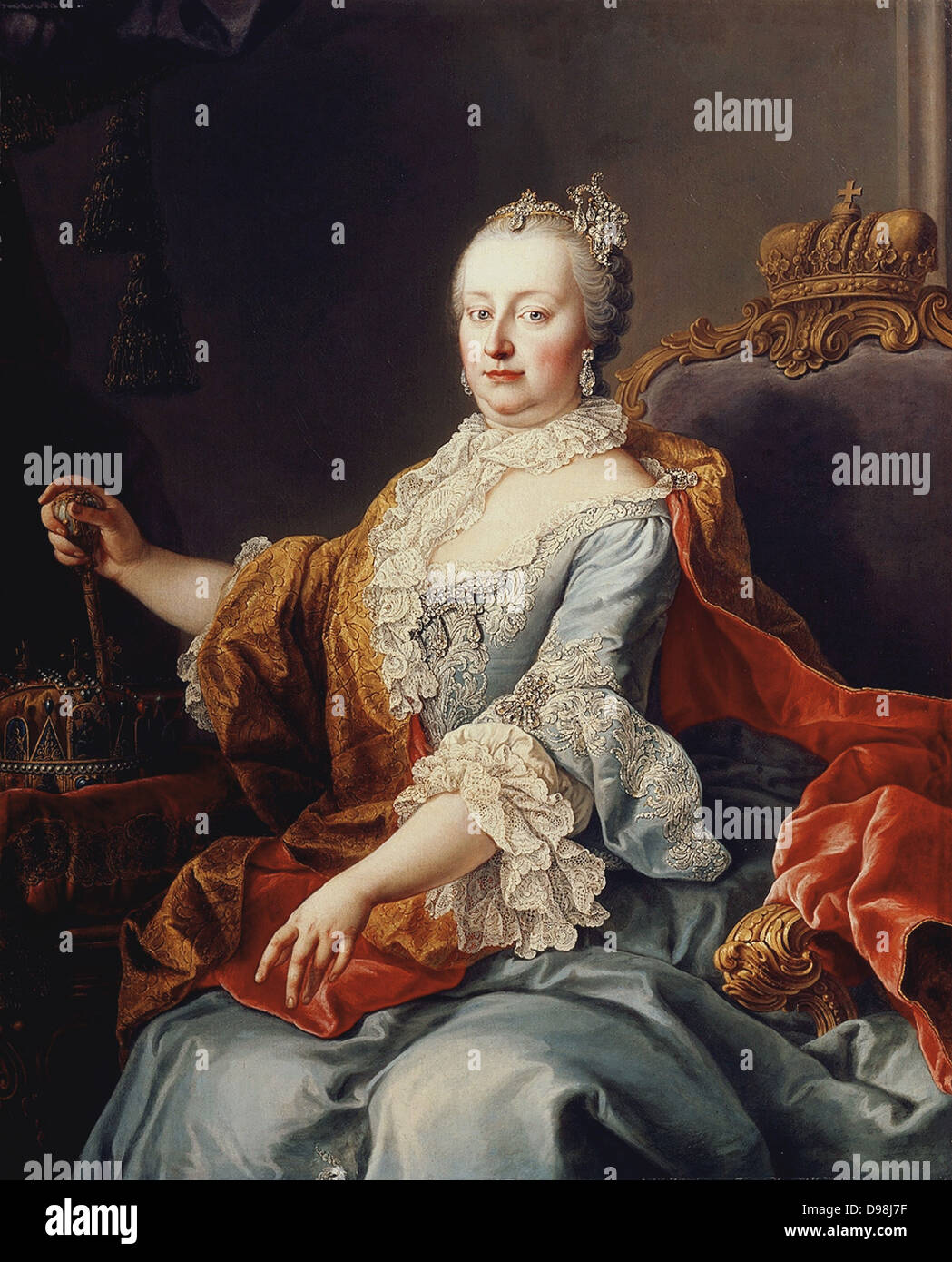 Maria Theresa (1717-1780), archduchess of Austria, Holy Roman Empress, and Queen of Hungary and Bohemia, began her - Stock Image